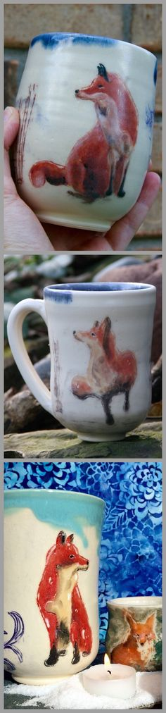 By Lone Fox Pottery now available on Etsy.com #ceramics #cute