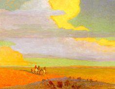 Traveling North At Sunrise 1916  by Oscar Berninghaus