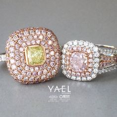 Two natural colored diamond rings. One to keep. Which one will it be? #pinkdiamond #diamondring #yellowdiamond #yaeldesigns