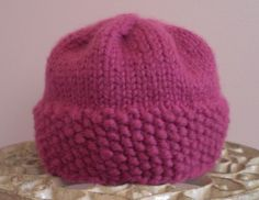 DISCOUNT  Raspberry Baby Hat  OOAK by LaceyDaisyKnits on Etsy, $13.50
