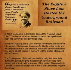 The Fugitive Slave Law of 1850 started the Underground Railroad