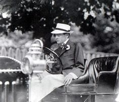 """Alfred Gwynne Vanderbilt Sr. at the tennis matches in Newport in his """"automotive machine."""" Mr. Vanderbilt came to an untimely end in 1914 when the RMS Lusitania on which he was sailing was torpedoed by a German U-Boat U-20 on September 7, 1915, 11 miles off the coast of Ireland."""