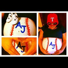 Baseball Painted Belly w/expected baby's initials. Texas Rangers!