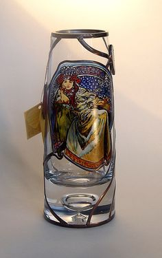 """10.5"""" x 5"""" (270 mm x 120 mm) Massive, glass, bright, hand-painted decorative vase, product of Czech glass factories. Precise copy of Mucha's artwork."""