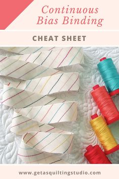 Continuous bias binding - cheat sheet and formulas -  learn how to calculate how much fabric you need to make the desired length of your binding. #quiltbindingtutorial #continuousbiasbinding via @getagrama