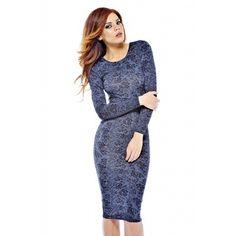 Ax Paris - Grey Lace Printed Slinky Midi Dress Paris Grey, Lace Print, Street Outfit, Fashion Outfits, Womens Fashion, Nice Dresses, Fashion Online, Evening Dresses, High Neck Dress