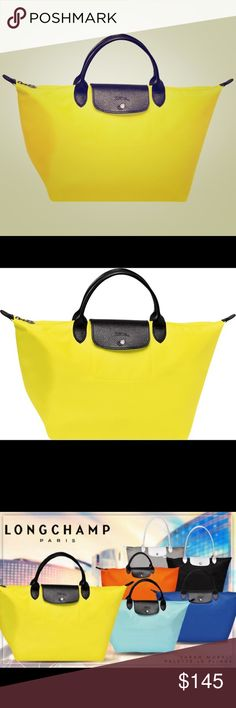 Longchamp x Sarah Morris Le Pliage Bag (Medium) For the 20th anniversary of the Longchamp Le Pliage Line, they created a special limited edition collection of bags with artist Sarah Morris. This is one of the medium size handbags from the collection with the black leather handles/flap and lemon yellow canvas. Brand new, never been used. Very rare color combination- I couldn't find any for sale online- but yellow just isn't my color. Bag size: medium Straps: short, black leather. Don't know…