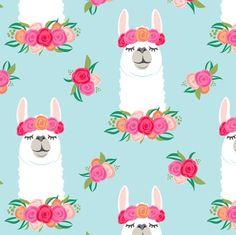 Buy floral llama - spring colors on baby bl custom fabric, wallpaper and home accessories by littlearrowdesign on Spoonflower Baby Blue Wallpaper, Custom Wallpaper, Alpacas, Llamas Animal, Llama Pictures, Llama Decor, Llama Face, Llama Print, Llama Birthday