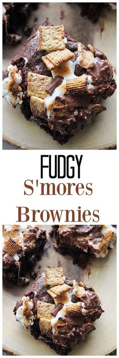 - Fudgy S'mores Brownies If you need a little something more than a regular brownie, try these Fudgy S'mores Browies! Chewy, fudgy brownie topped with graham cereal, marshmallows and chocolate will wow them all. Low Carb Dessert, Oreo Dessert, Eat Dessert First, Dessert Bars, Dessert Chocolate, Just Desserts, Delicious Desserts, Yummy Food, Tasty