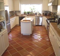 Kitchen With Mexican Tile Installed On A Diagonal And Pulled For Slightly Less Color Variations