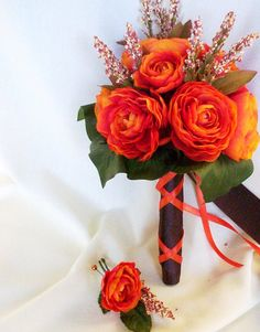 beautiful :) now that's a little more pocketbook friendly :)     Fall bouquet Orange Bridal Bouquet Wedding flowers by AmoreBride, $49.00