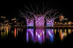 The Bloom Pavilion is a light art installation based on a type of scaffolding made from bamboo and widely used in construction work for centuries in Asia.Together with motion sensors, the Bloom Pavilion is illuminated whenever there are visitors moving around the structure.