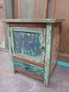 Recycled Wood 3 Drawer Bedside Table Loooove It