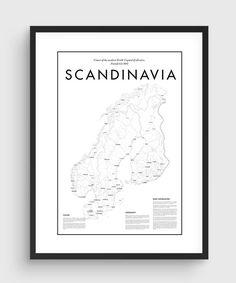 Scandinavia Minimal Map Poster Black & White Minimal by PurePrint