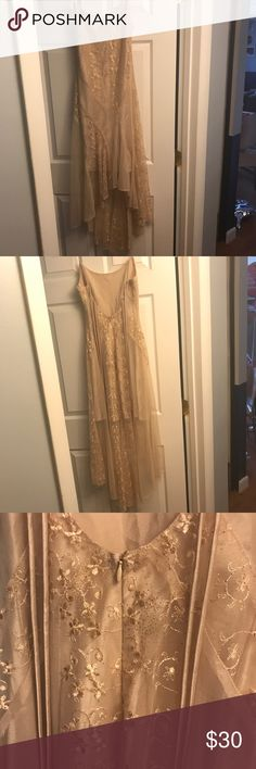 Formal  Gold Glitter dress Gold glitter with embroidered flowers with satin and tulle. Hi-LO length. Dress worn twice. Beautiful flowly train perfect dress for wedding, prom, dance, formal, bachelorette party..etc Smoke free home.  Make an Offer Dresses High Low