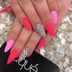 Full set matte with Swarovski $60 neon vibrant coral and pink matte stiletto nails done by #laquenailbar by laquenailbar http://ift.tt/1e4L3Fc