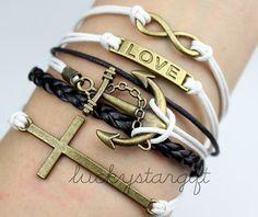 Anchor charm infinite infinite love bronze & bracelet with white rope cross black leather woven fashion bracelet-Q081by luckystargift, $6.19