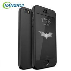 超薄型360フルカバーのためのiphone 5 s case +強化ガラススクリーンプロテクター用iphone se 5 caseフルボディカバーfundas