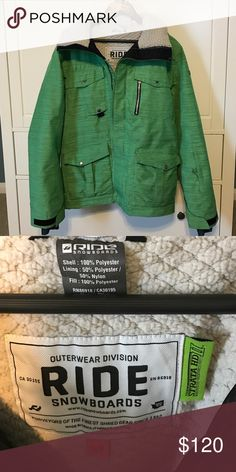 Motivated Seller / Jacket Ride Sodo Jacket Green Limited Edition Small W wool collar. Strata HD II liner. Super warm for extreme conditions. Detachable hood, pocket with headphone lead. finger holes, slim and regular fit with two zipper configuration. Still selling for $300-500 as they are still in high demand. Make offer brand new worn couple times- reasonable offer and it's yours. This is one of my favorite coats I have owned. Combo with black pants Burton Jackets & Coats Performance…