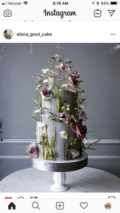 wedding cake ideas photos gallery pink and white flowers blooms on grey cake elena_gnut_cake Begin your wedding cake search from here, search trendy designs and ideas that will stand out and wow the guests at your wedding. Naked Wedding Cake, Beautiful Wedding Cakes, Gorgeous Cakes, Pretty Cakes, Amazing Cakes, Wedding Cake Flowers, Unique Wedding Cakes, Bolo Floral, Floral Cake