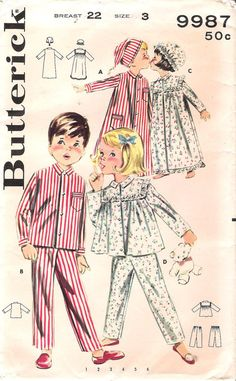 Vintage Child's Pajamas, Nightgown, Night Cap and Bonnet, Butterick Sewing Pattern 9987 Childrens Sewing Patterns, Sewing For Kids, Clothing Patterns, Vintage Dress Patterns, Skirt Patterns, Coat Patterns, Blouse Patterns, Childrens Pyjamas, Kids Nightwear