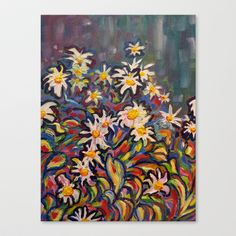 Mom's White Daisies Stretched Canvas by Morgan Ralston - $85.00