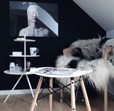 We have just recieved this 3 tray steward table from the danish design brand Norrmade. The stool in front is from sinnerup, but looks like an eames. The poster on the wall is called hanna, and is one of my favorites. The chair is from muuto.