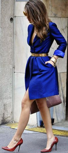 #street #style work in style / blue + gold @wachabuy
