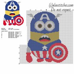 Minion Captain America - Despicable Me free pattern (79 x 96)