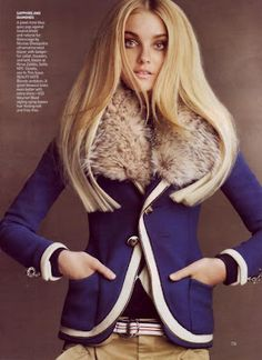 Caroline Trentini in American Vogue September 2007 issue wearing the Balenciaga badger fur-collared blue blazer from Fall 2007.