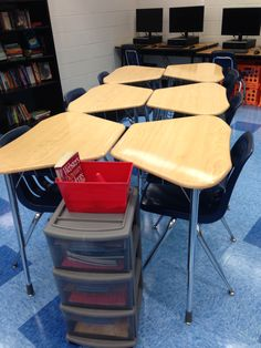 Groups of 6- you have to be creative with these weird trapezoid desks! Rolly