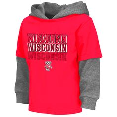 Wisconsin Badgers Colosseum Toddler Radar Layered Hooded Long Sleeve T-Shirt - Red - $20.79