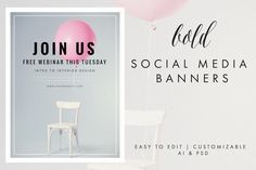 Social Media Banners - Bold The Bold Package is a series of social media and blog post templates to help market your business in a clean, minimalist and cohesive way. This package includes