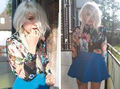H&M Floral Shirt, American Apparel Blue Denim Circle Skirt