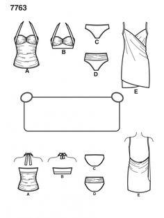 7763 Simplicity Schnittmuster Badeanzug Bikini