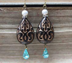 Teal Teardrop Rhinestone  Earrings Black And Teal by madebymoe, $24.00