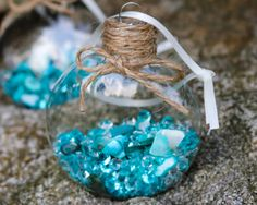 Teal Aqua Sea Shell Diamond Glass Disk Ornament, Filled, Jute Burlap Twine, Cottage Seaside Beachy Hanging Christmas Holiday Tree Decor by DetailsDelights on Etsy  Handmade Gifts and Beautiful Decor by Details and Delights. Shop at: http://DetailsDelights.com. Like and Share on Facebook at: https://www.facebook.com/DetailsandDelights/. Sign-Up for our weekly newsletters here:http://eepurl.com/cql2Hz