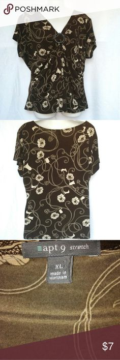 Apt 9 Brown and Tan Top Sz XL Apt 9 Brown and Tan Top Sz XL. Very nice top all brown with tan flowers. Gently used bo signs of wear. Apt. 9 Tops Blouses