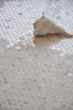 Marble penny rounds - use similar image without shell for acrylic splashback?