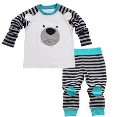 Aikobaby Newborn Baby Boy Bear Printed T-shirt Top + Striped Pants Outfits Set Kids Clothes (0-6M, Blue)