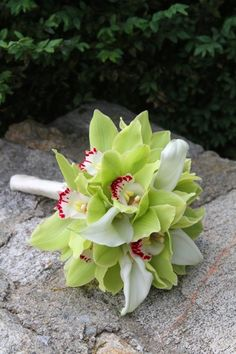 orchid bouquet green orchids and white lilies