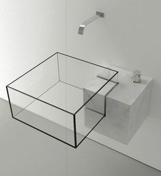 Modernistic bathroom sink.