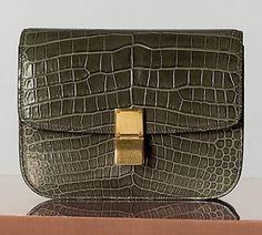 Celine Classic Medium in Croco Almond Celine, Animal Print Purses, Colourful Outfits, Military Green, Fashion Handbags, Designer Handbags, Crocs, Amazing Women, Olive Green
