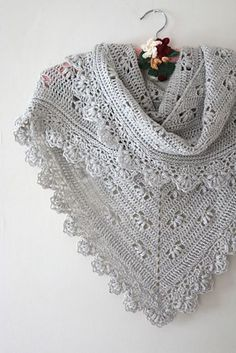 Who says crochet can't be all about luxury yarns too? This softer than soft baby alpaca is the perfect thing to snuggle into and the delicate puff design help this shawl harness the warmth with elegant good looks.