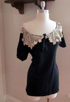 Doilie collar~ Re-cycled Tee shirt