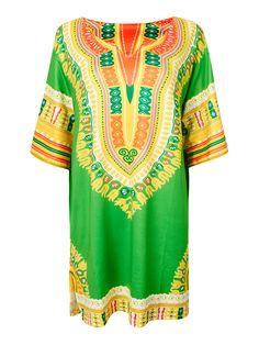 Sale 21% (17.39$) - Women Folk Style Loose Printed V Neck Half Sleeve Split Hem Mini Dress