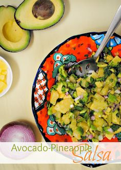 "Avocado-Pineapple Salsa - I left out the red onion and we ate it less as a ""chip and salsa"" and more of an accompaniment to our crab cakes. Appetizer Dips, Appetizers For Party, Appetizer Recipes, Whole Food Recipes, Healthy Recipes, Yummy Recipes, Healthy Food, Pineapple Salsa, Canned Pineapple"