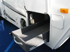 rv storage ideas | Custom made pull out storage box on heavy duty rails