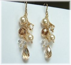 Ivory Wedding Gown Jewelry, Champagne Earrings, Cascade Earrings, Ivory Pearl Bridal Earrings, 14k Gold Filled