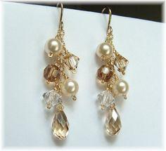 Mariage Ivoire robe bijoux, Champagne boucles d'oreilles, boucles d'oreilles, boucles d'oreilles mariées perles Ivoire en Cascade, rempli d'or 14k